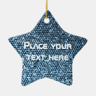 Silver Sequins Ceramic Star Decoration