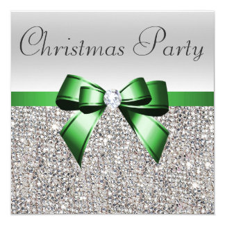 Silver Sequins Christmas Party Green Diamond Bow 13 Cm X 13 Cm Square Invitation Card