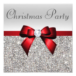 Silver Sequins Christmas Party Red Diamond Bow 13 Cm X 13 Cm Square Invitation Card