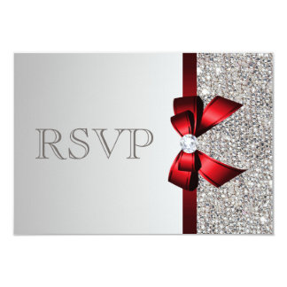 Silver Sequins Diamond Red Bow Wedding RSVP 9 Cm X 13 Cm Invitation Card