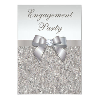Silver Sequins Diamonds Bow Engagement Party Card