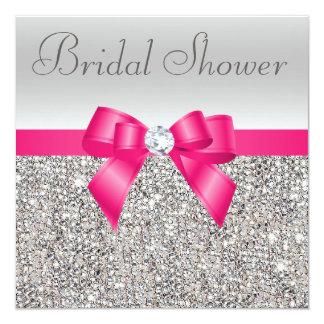 Silver Sequins Hot Pink Bow Diamond Bridal Shower 13 Cm X 13 Cm Square Invitation Card