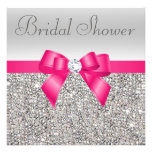 Silver Sequins Hot Pink Bow Diamond Bridal Shower Personalised Invitations
