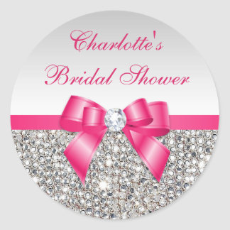 Silver Sequins Hot Pink Bow Diamond Bridal Shower Round Sticker