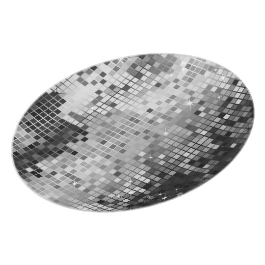 Silver Sequins Look-Disco Glitter Party Plates