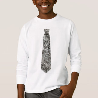 Silver Sequins Look Fake Tie T-Shirt