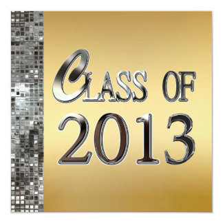 Silver Sequins On Gold 2013 Graduation Invitations