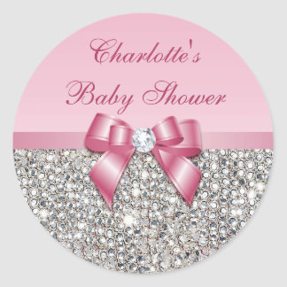 Silver Sequins Pink Bow Diamond Baby Shower Classic Round Sticker