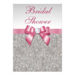 Silver Sequins Pink Bows Diamonds Bridal Shower Personalised Announcement