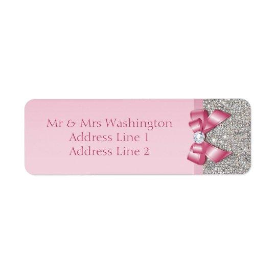 Silver Sequins Pink Diamond Bow Return Address Label