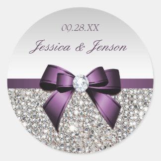 Silver Sequins Purple Bow and Diamond Wedding Round Sticker
