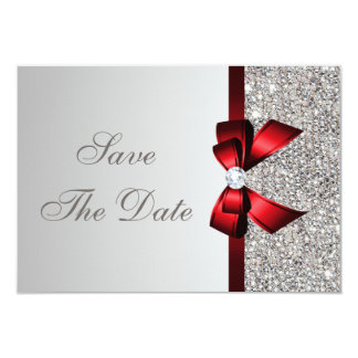 Silver Sequins, Red Bow & Diamond Save the Date 9 Cm X 13 Cm Invitation Card