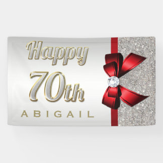 Silver Sequins Red Faux Bow 70th Birthday Banner