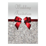 Silver Sequins Royal Red Bow and Diamond Wedding 13 Cm X 18 Cm Invitation Card