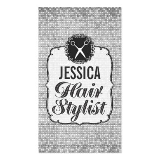 Silver Sequins Sparkle Hair Stylist Appointment Pack Of Standard Business Cards