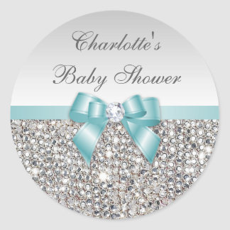 Silver Sequins Teal Bow Diamond Baby Shower Round Sticker