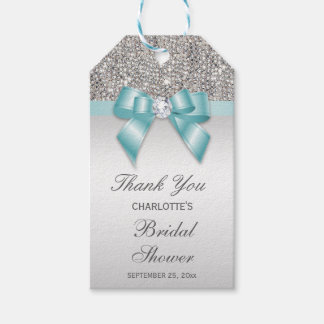 Silver Sequins Teal Diamond Bow Bridal Shower Gift Tags