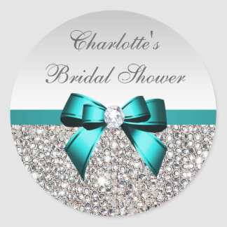Silver Sequins Teal Diamond Bow Bridal Shower Round Sticker