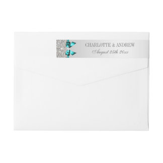 Silver Sequins Vibrant Teal Blue Diamond Bow Wraparound Return Address Label