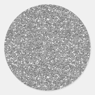 Silver Shimmer Glitter Round Sticker