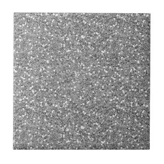 Silver Shimmer Glitter Small Square Tile