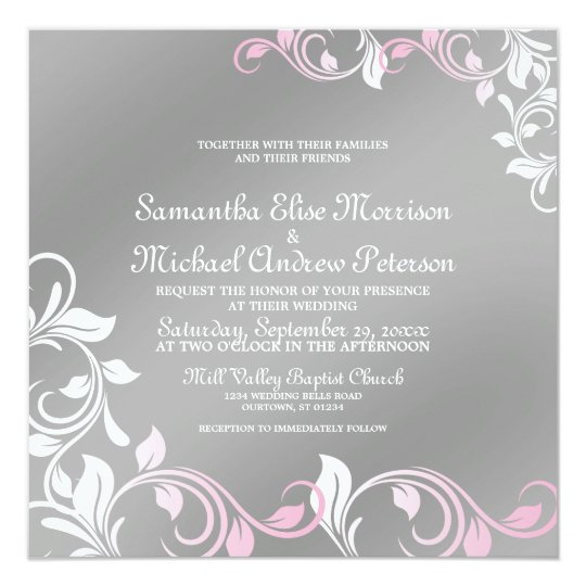 Silver Shimmer Pink Wedding Invitation
