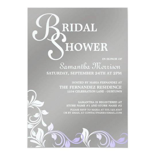 Silver Shimmer Purple Bridal Shower Invitations