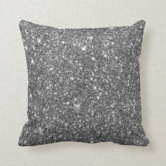 Silver Shining Faux Glitter Pattern Girly Throw Pillow