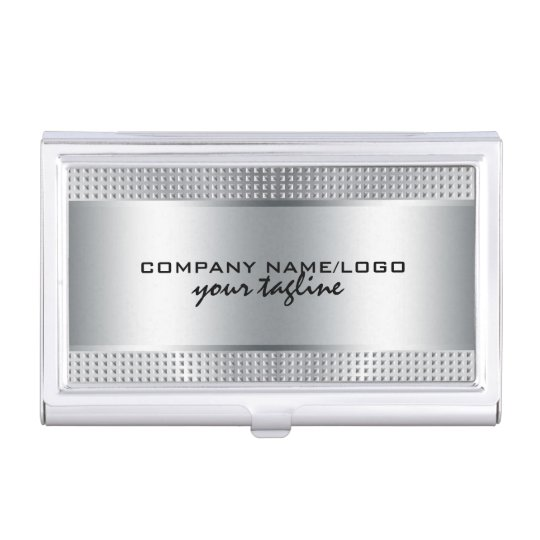 Silver Shiny Metallic Design-Stainless Steel Look Business Card Cases