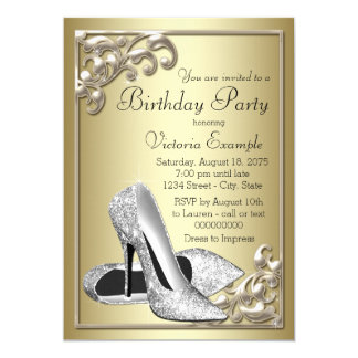 Silver Shoe Ivory Gold Birthday Party Card
