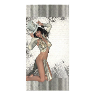 Silver showgirl photo card template