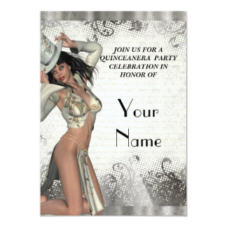 Silver showgirl  quinceanera party card
