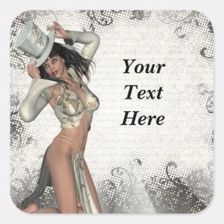 Silver showgirl square sticker