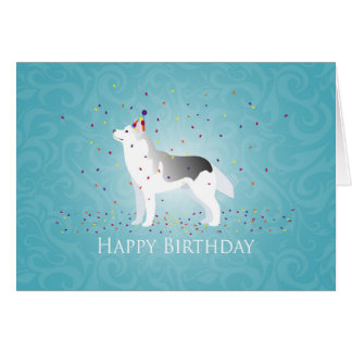 Silver Siberian Husky Dog Happy Birthday Design Card