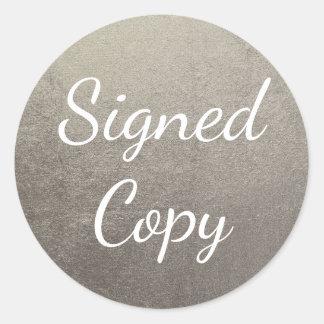 Silver Signed Copy Round Sticker