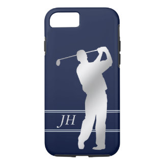 Silver Silhouette Golfer Monogram iPhone 8/7 Case