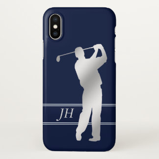 Silver Silhouette Golfer Personalized iPhone X Case