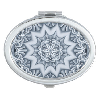 Silver Silk Mandala Compact Mirror
