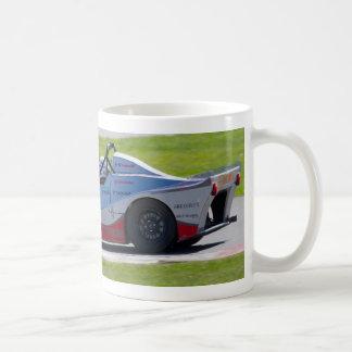 Silver single seater race car coffee mugs