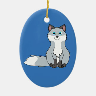 Silver Sitting Fox Kit with Dark Markings Ceramic Oval Decoration