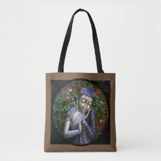 Silver Sleeping Buddha Yoga Meditation Tote Bag
