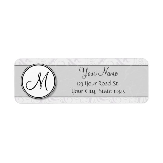 Silver Snow Floral Wisps & Stripes with Monogram