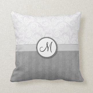 Silver Snow Floral Wisps & Stripes with Monogram Cushion