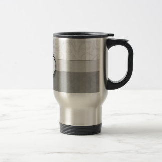 Silver Snow Floral Wisps & Stripes with Monogram Travel Mug