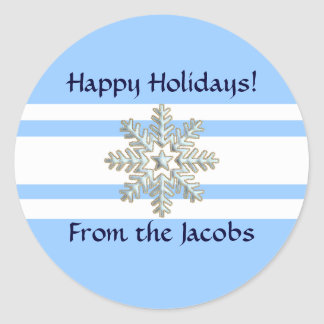 Silver Snowflake and White Lines Holiday Round Sticker