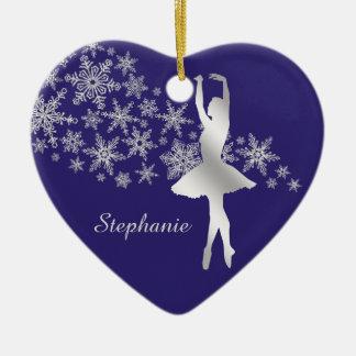 Silver Snowflake Ballerina Blue Christmas Ornament