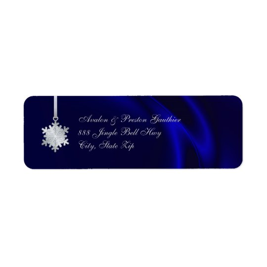 Silver Snowflake Blue Silk Holiday Address
