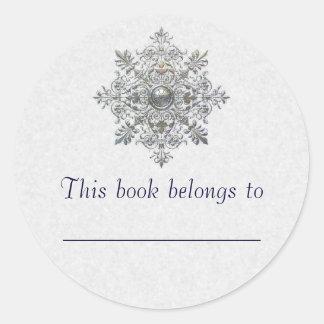 Silver Snowflake Bookplate Round Stickers