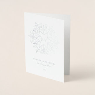 Silver Snowflake Corporate Holiday Foil Card