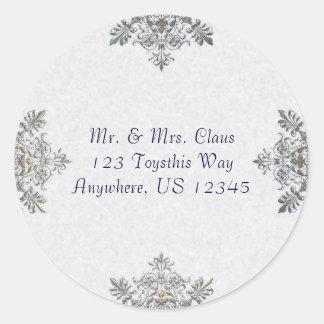 Silver Snowflake Envelope Seal Round Sticker